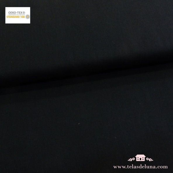 Tela algodón negro liso