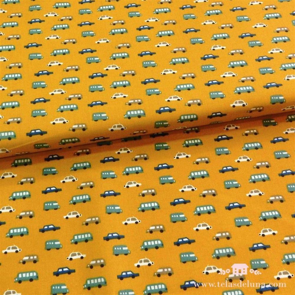 Tela coches mostaza 150 cm