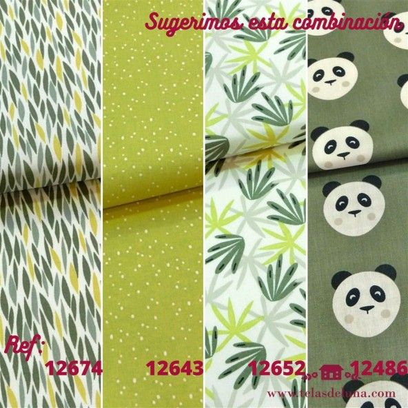 Tela hojas bambú