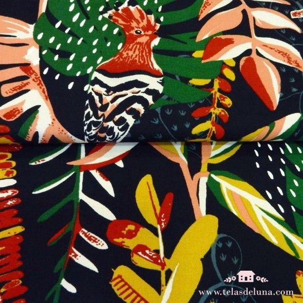 Tela de loneta ave exótica