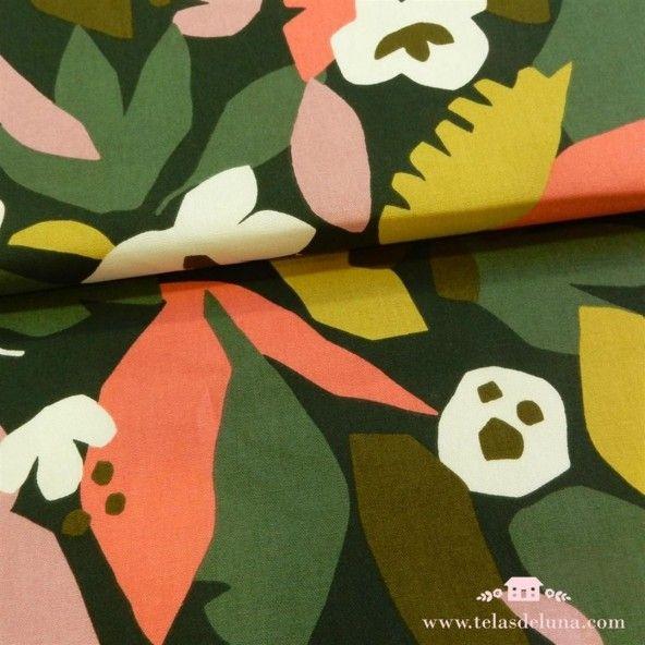 Tela de loneta flores tropical verde