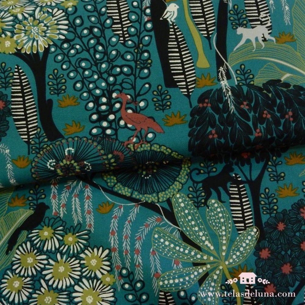 Tela de loneta paisaje exótico turquesa