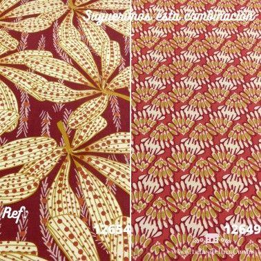 Tela de loneta hojas exóticas granate claro