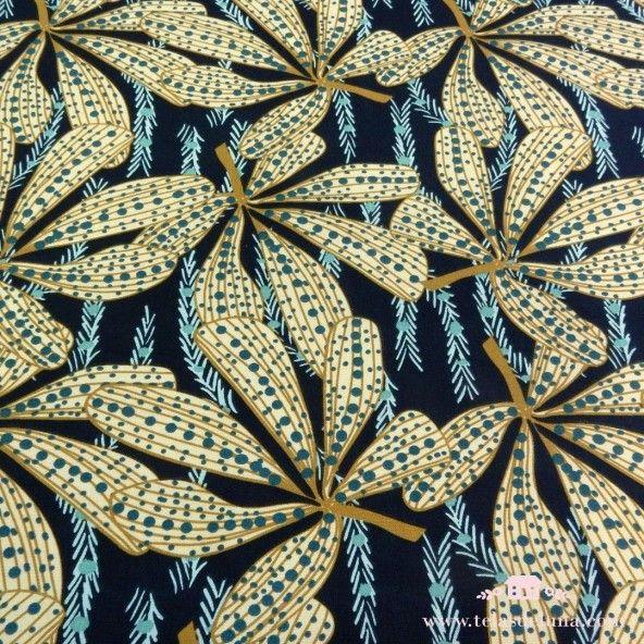 Tela de loneta hojas exóticas azul