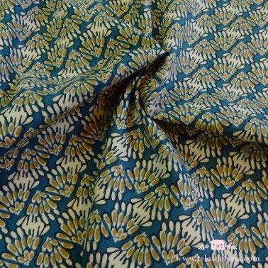 Tela de loneta motivo floral azul