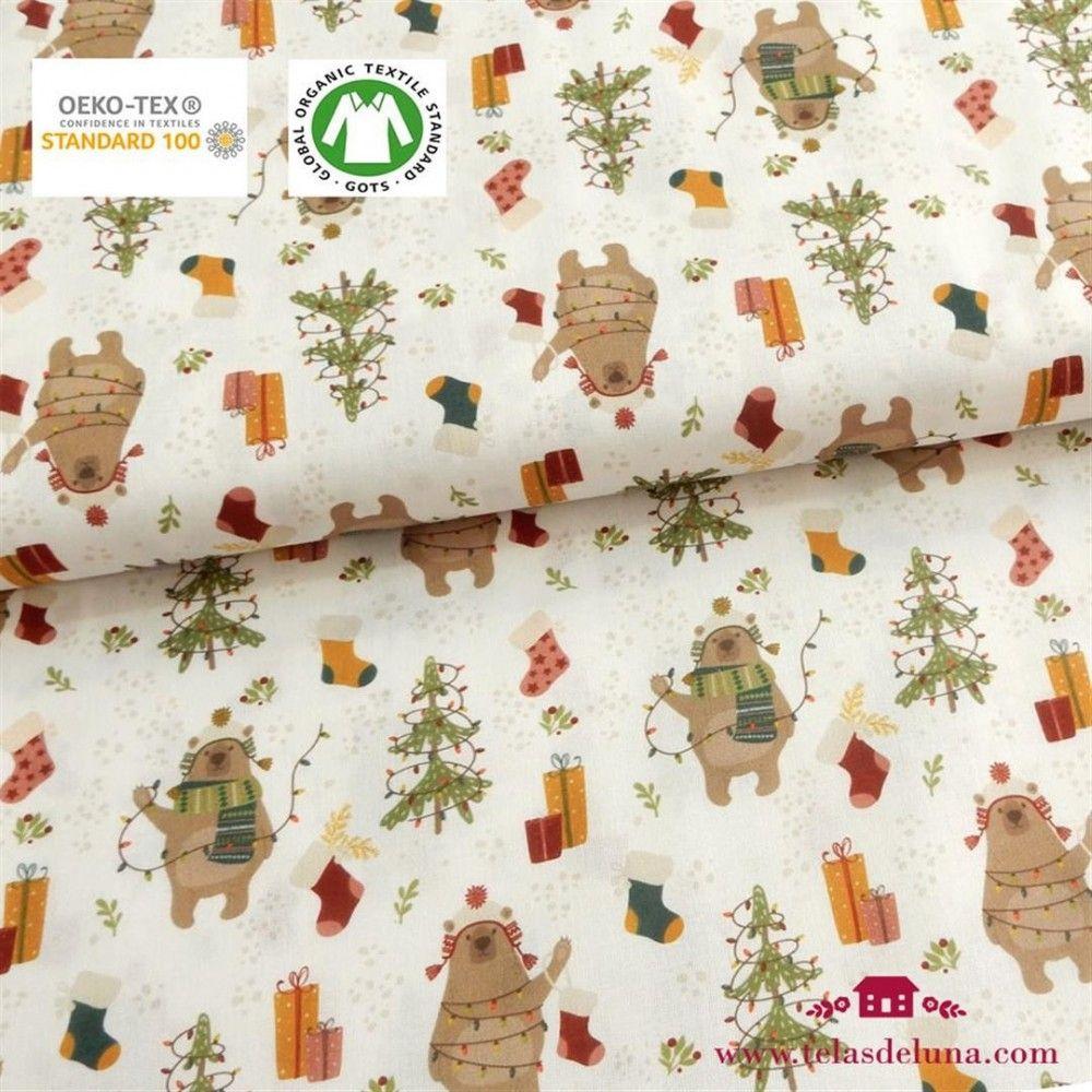 Tela Navidad osos y árbol