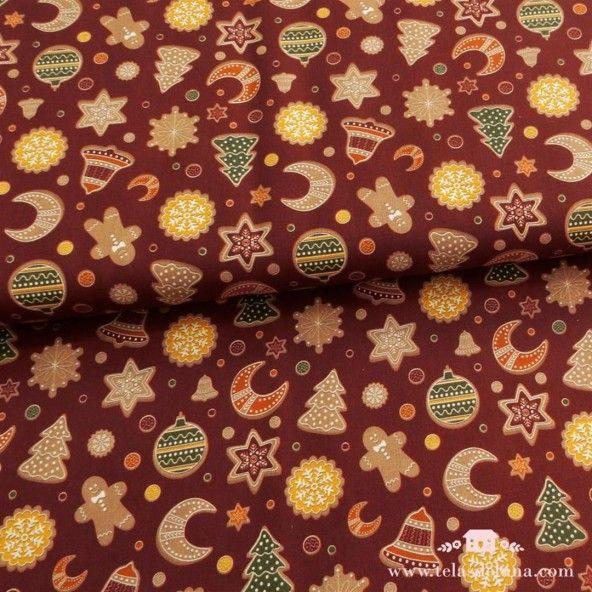 Tela Navidad, adornos y gingers