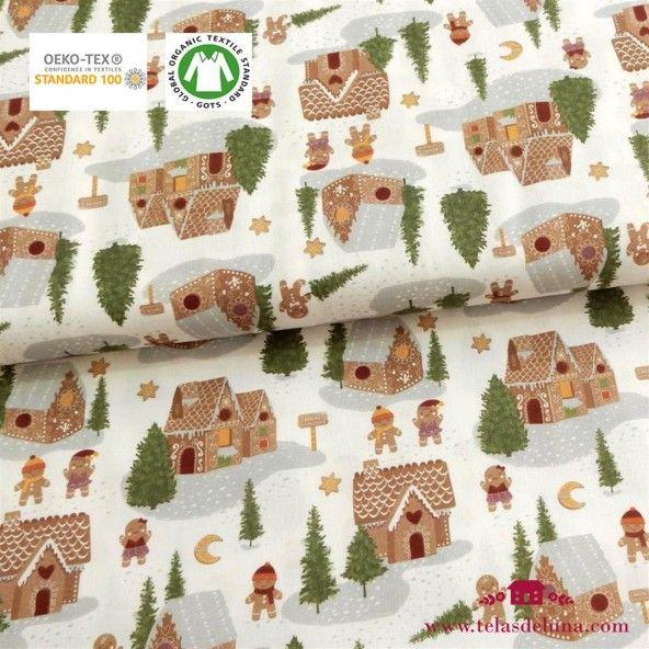 Tela Navidad, casitas y gingers