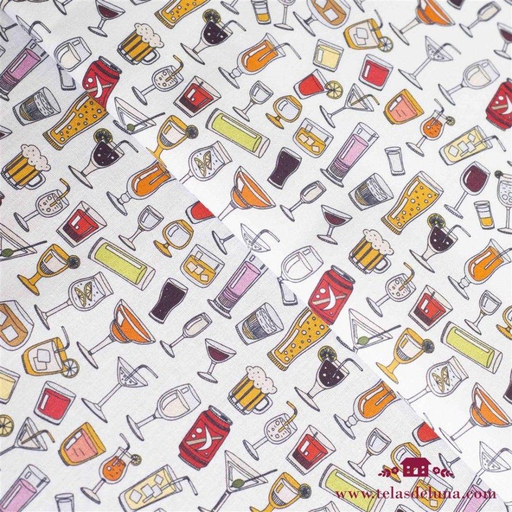Tela bebidas divertidas blanco