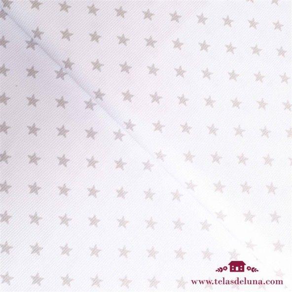 Tela piqué estrella gris claro fondo blanco