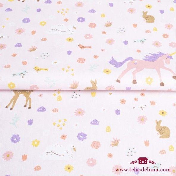Tela bambi y unicornios rosa