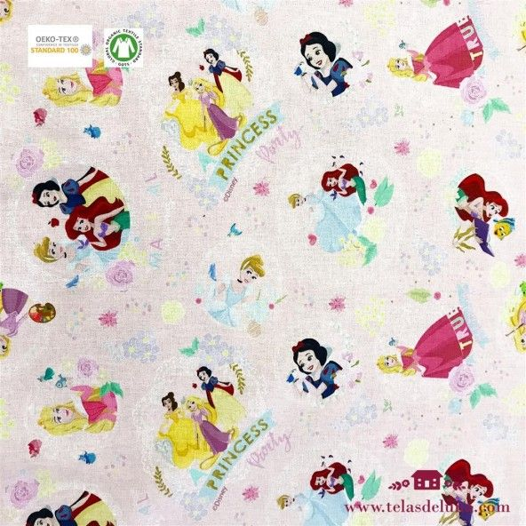 Tela princesas Disney rosa 150 cm