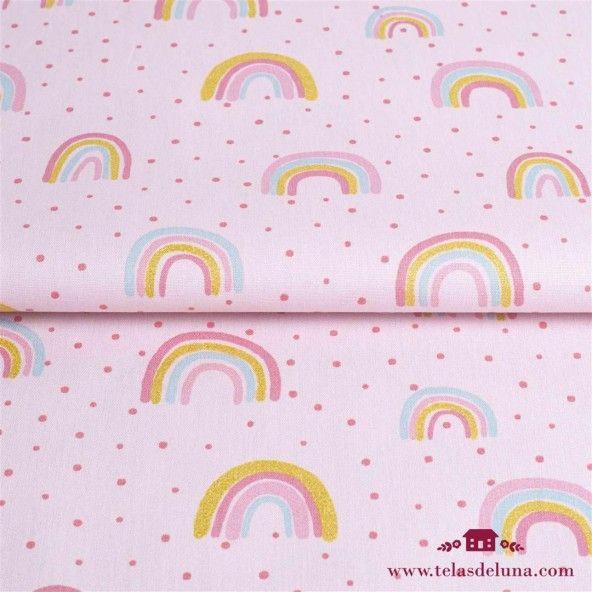 Tela arcoiris  rosa