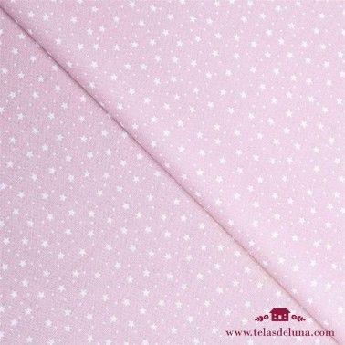 Tela hidrófuga y antibacteriana rosa estrellas