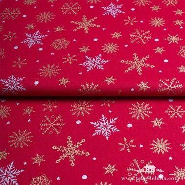 Tela estrellas de Navidad rojo