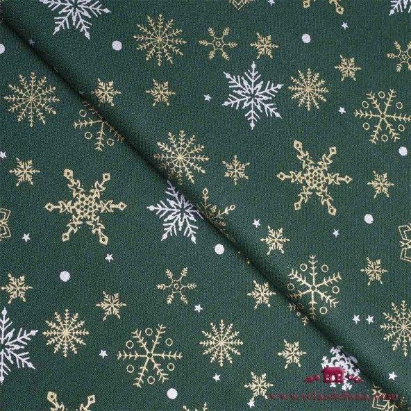 Tela estrellas de Navidad verde