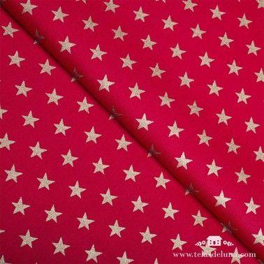 Tela Navidad roja estrellas doradas