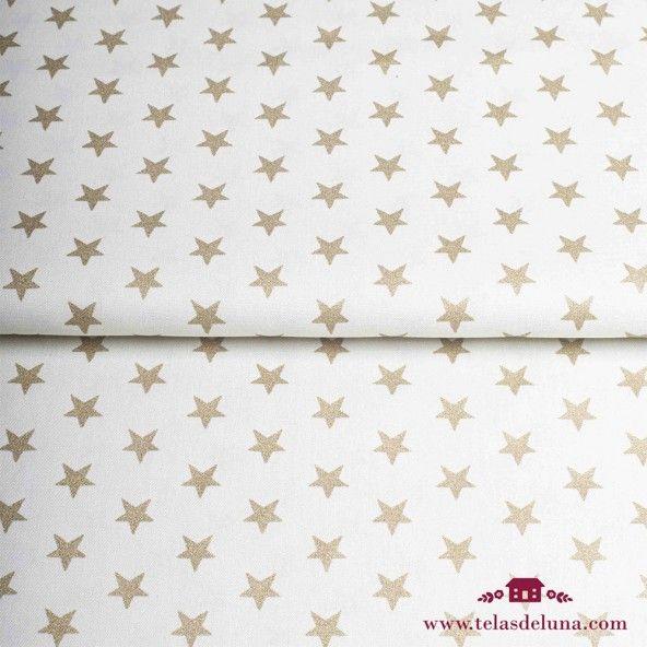 Tela Navidad beige estrellas doradas