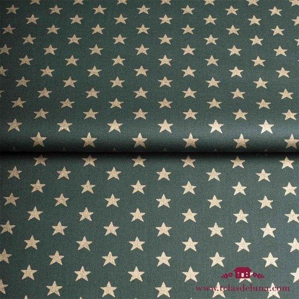Tela Navidad verde estrellas doradas