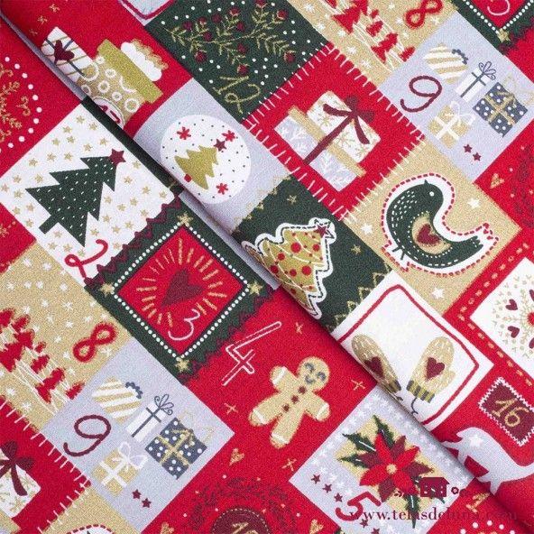 Tela Navidad decoración calendario adviento