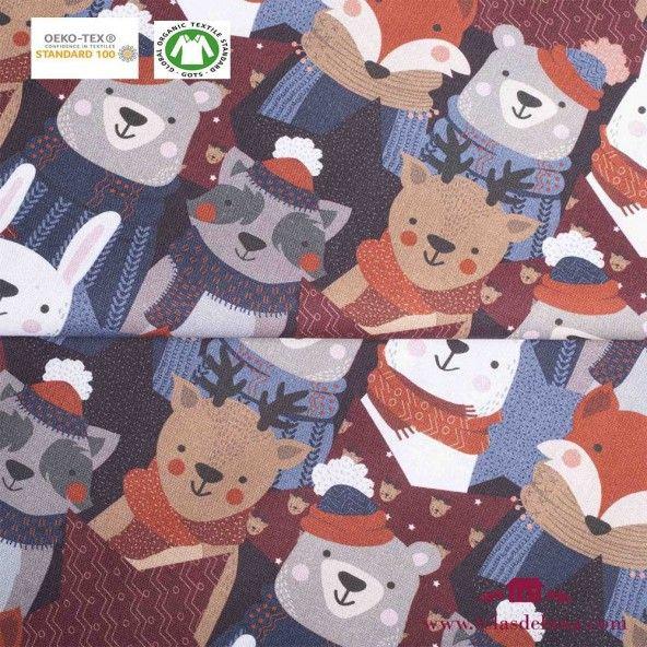 Tela caritas de animales invierno
