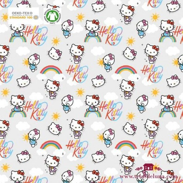 Tela Hello Kitty arcoiris 150 cm