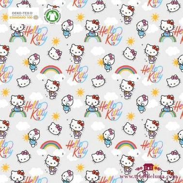Tela Hello Kitty arcoiris 150 cm