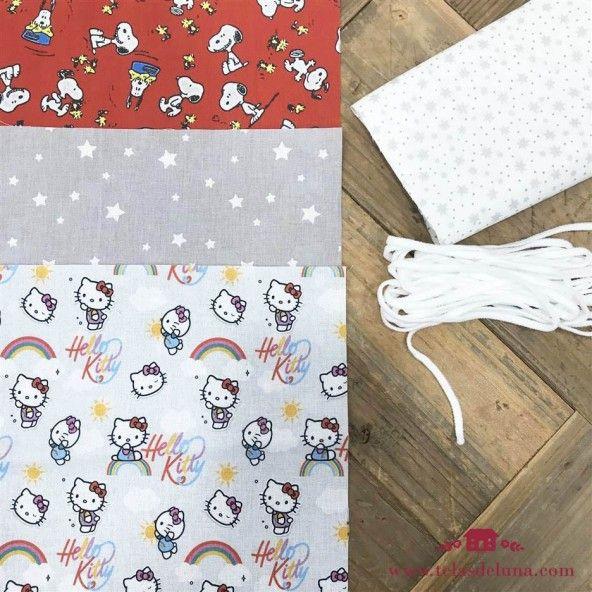Kit mascarillas estrellas, Kitty y Snoopy