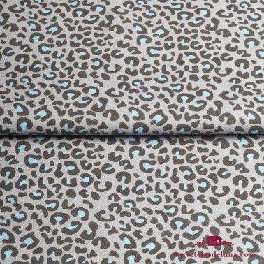 Tela leopardo gris y turquesa