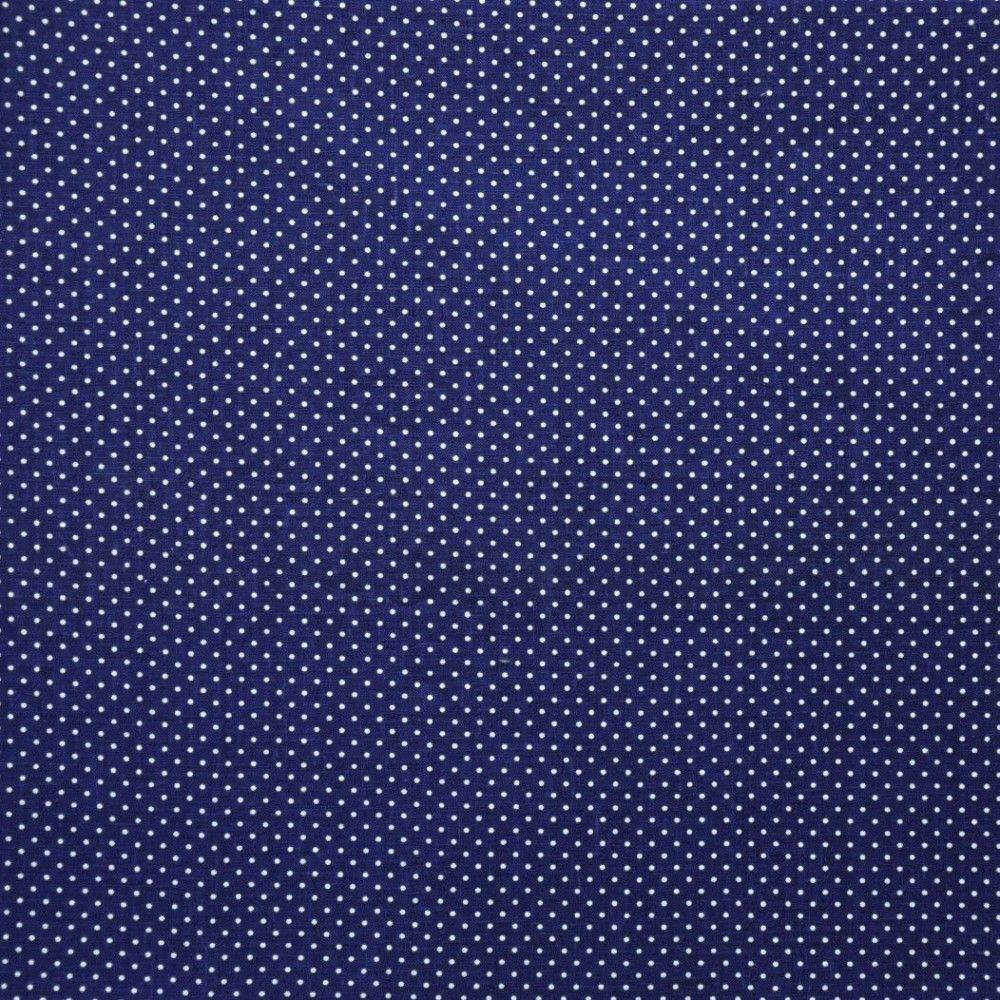 Tela lino azul topo pequeño blanco