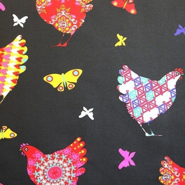 Mantel resinado gallinas multicolor fondo negro