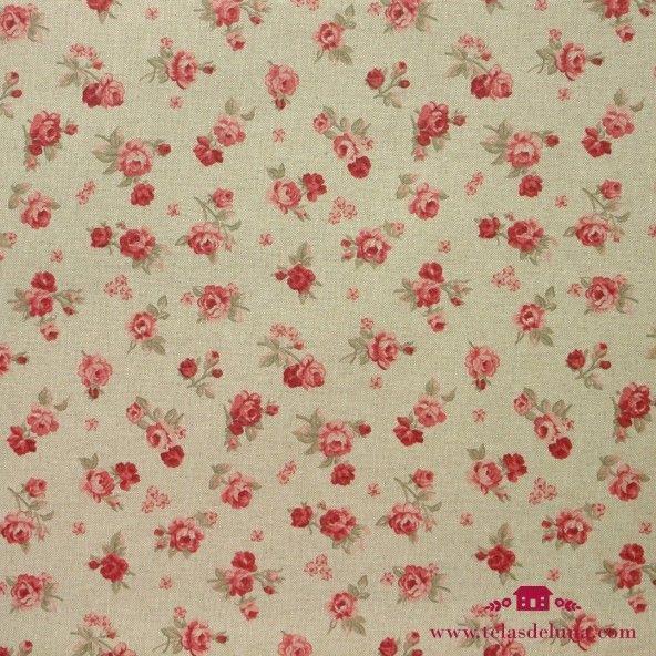 Mantel resinado lino rosas pequeñas