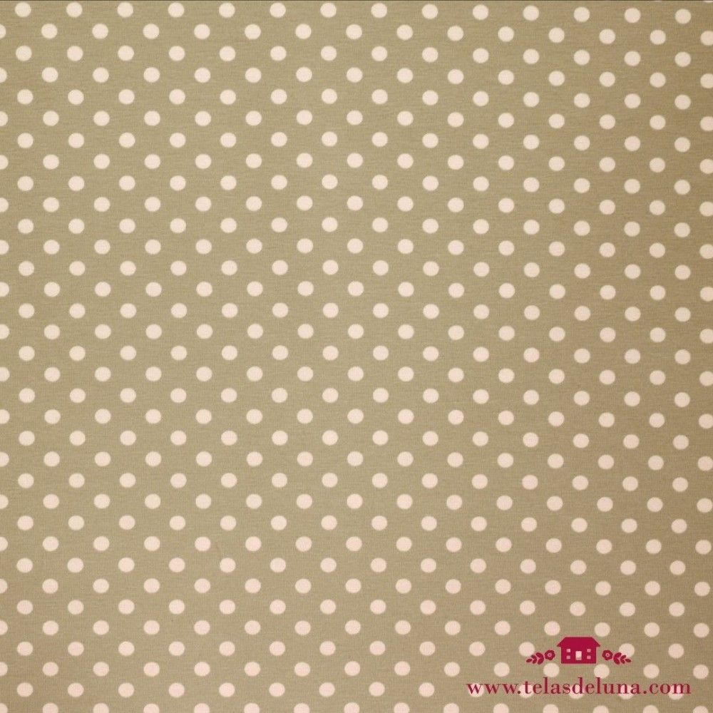 Tela elástica punto marrón topo blanco