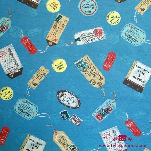 Tela azul viajes y etiquetas