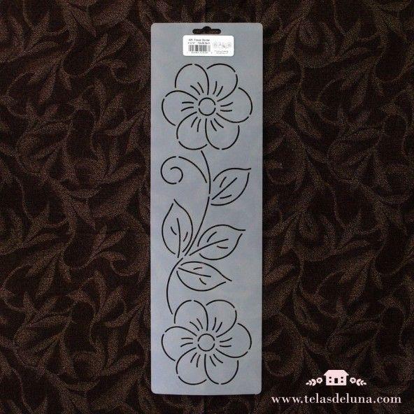 Plantilla flor con hojas 10x35.6cm
