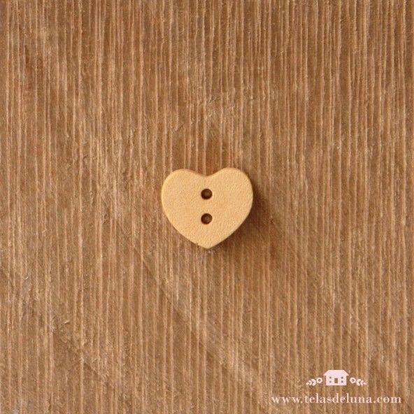 Botón decorativo madera corazón