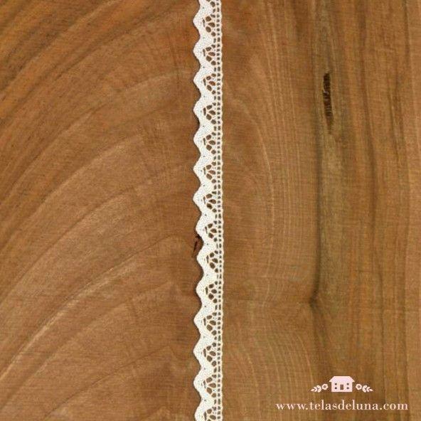 puntilla algodón color blanco 10mm acabado en onda