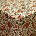 Mantel resinado estampado flores ramajes pájaros