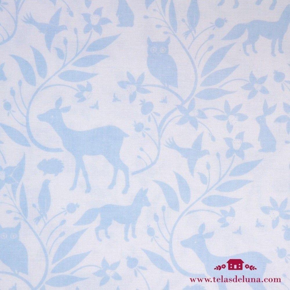 Tela animales azules fondo blanco