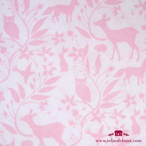Tela animales rosas fondo blanco