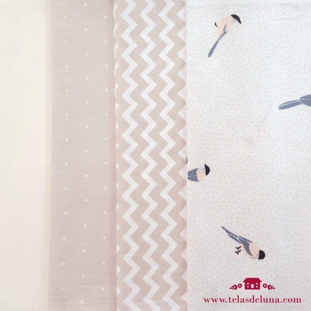Fat Quarter estampados lino y algodón grises y blancos