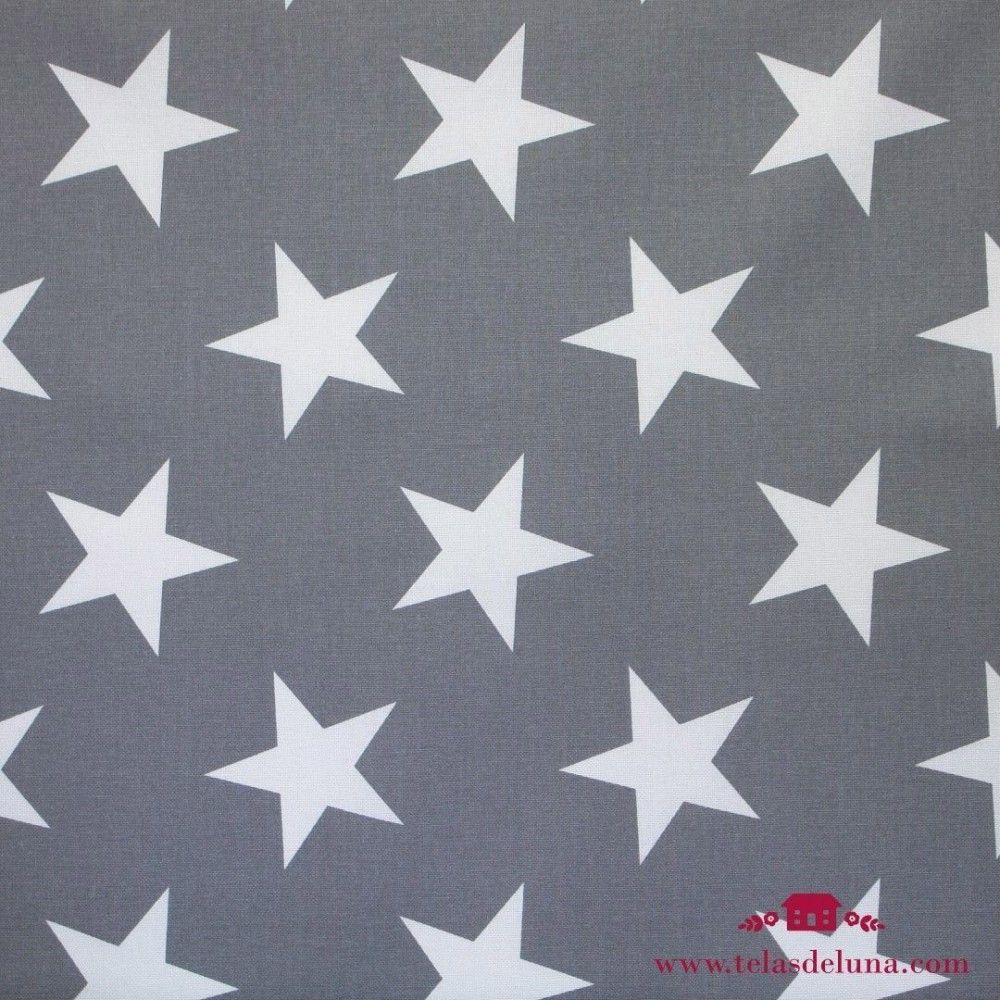 Mantel antimanchas estrellas blancas fondo gris