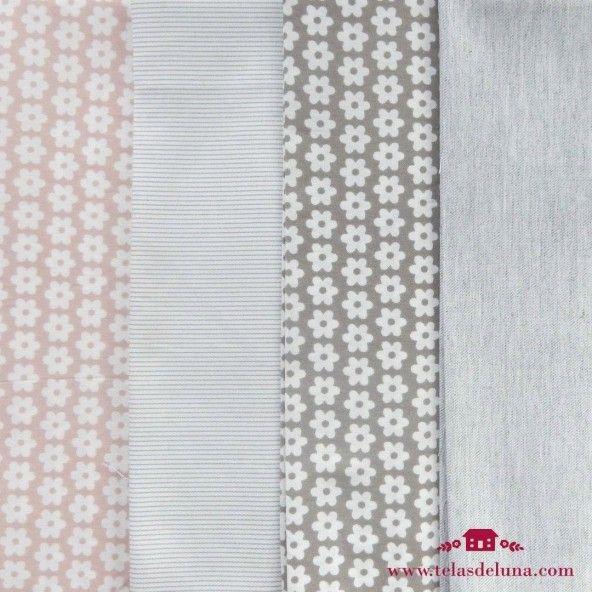 Fat quarter telas estampadas en flores rayas y lisas