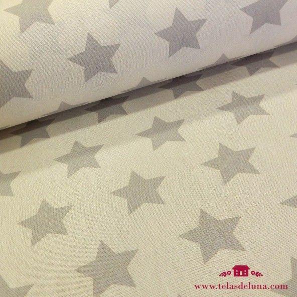 Mantel antimanchas estrellas grises fondo blanco