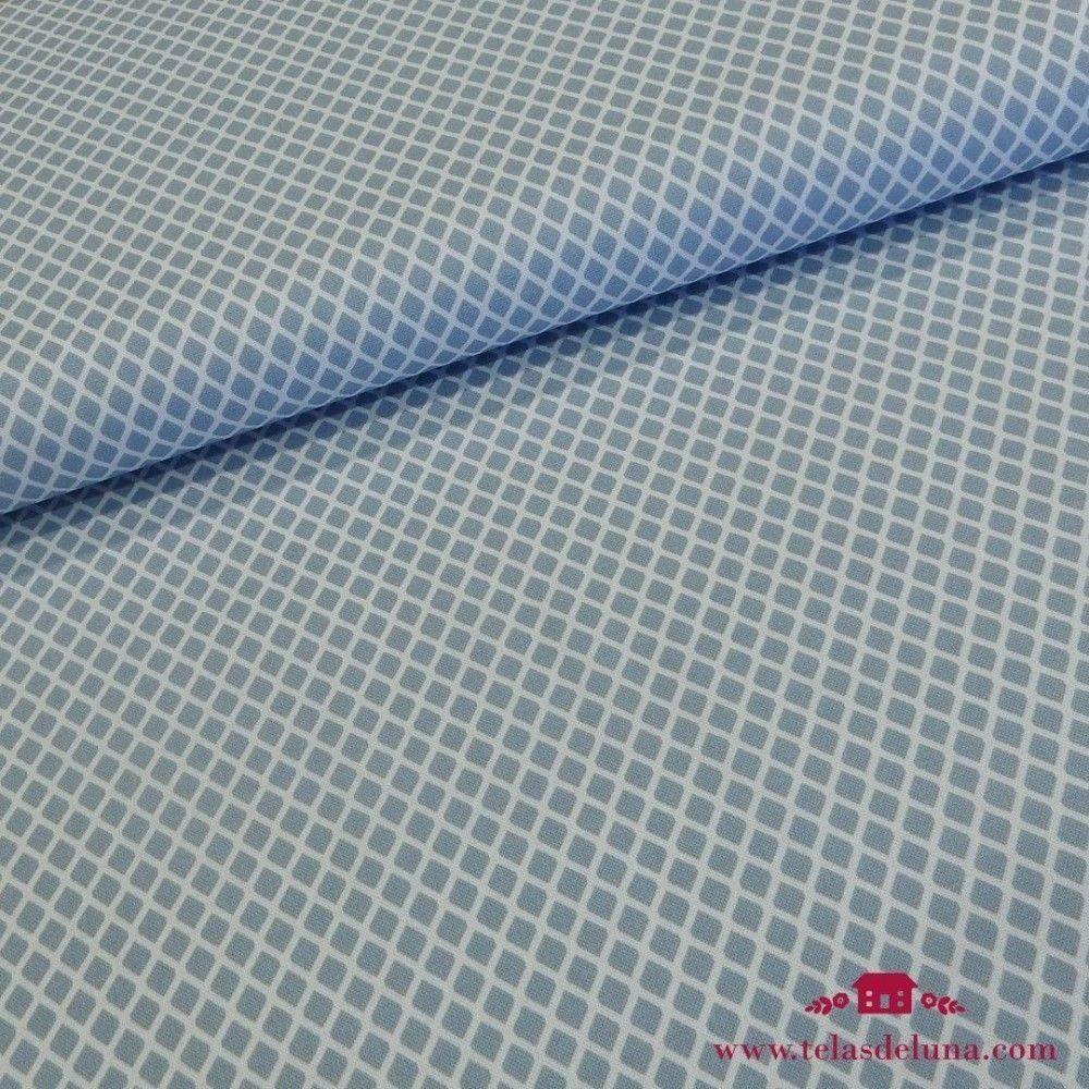 Tela mosaico Gütermann azul blanco