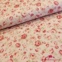 Tela rosas rosas fondo beige