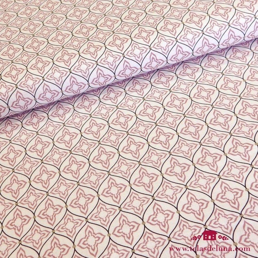 Tela Gütermann mosaico rosa verde