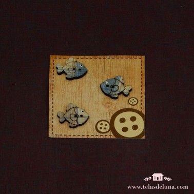 Botones madera peces azules