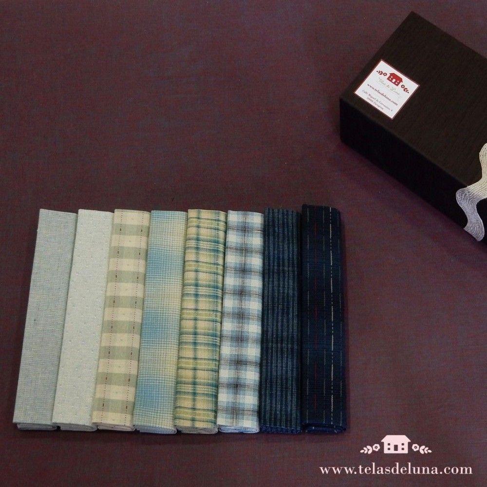 Caja telas japonesas precortadas azul