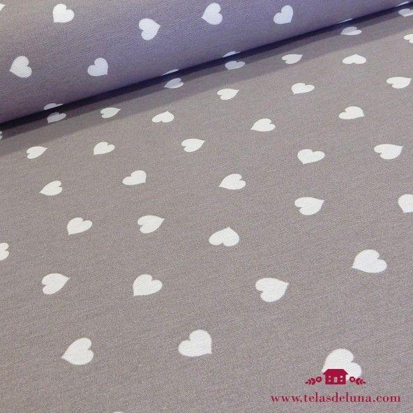Mantel antimanchas corazones gris